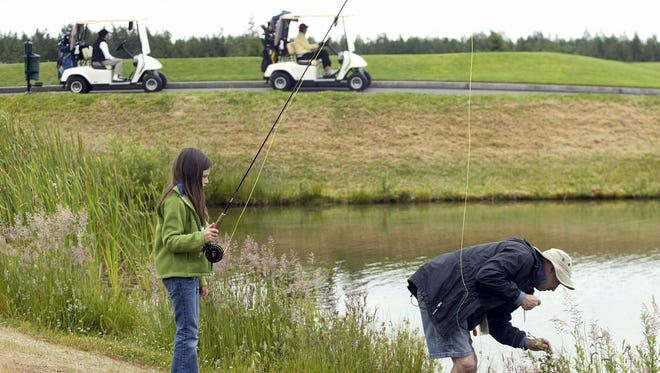 Trophy Lake offers golfing and fishing opportunities.