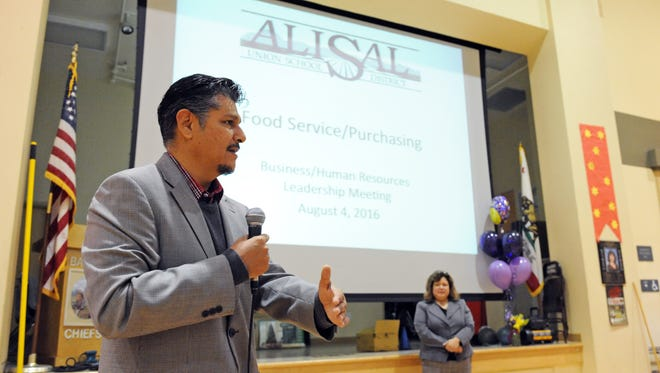 Alisal Union School District Superintendent Hector Rico thanks food services staff receiving professional development on Tuesday, August 16th at Bardin Elementary School in Salinas. Irene Vargas, director of food services at the district, looks on.