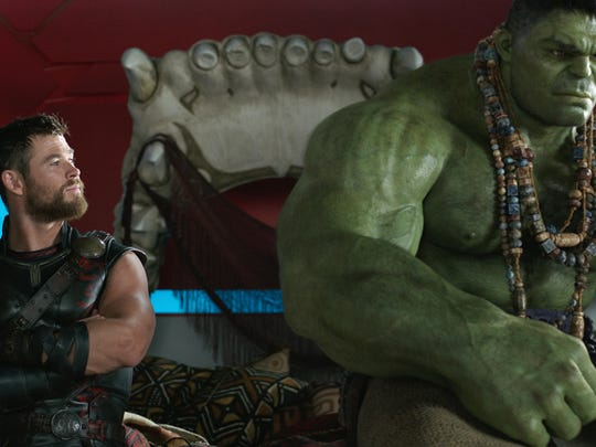 Chris Hemsworth (left) and the Hulk in a scene from,