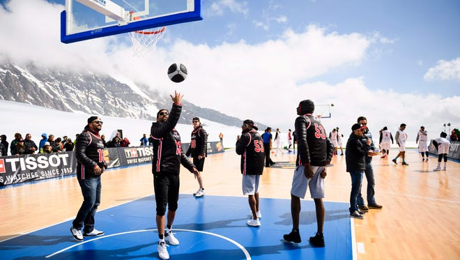 Tony Parker hosted a basketball game on the Aletsch Glacier, 2.15 miles above sea level on Jungfraujoch mountain in Switzerland.