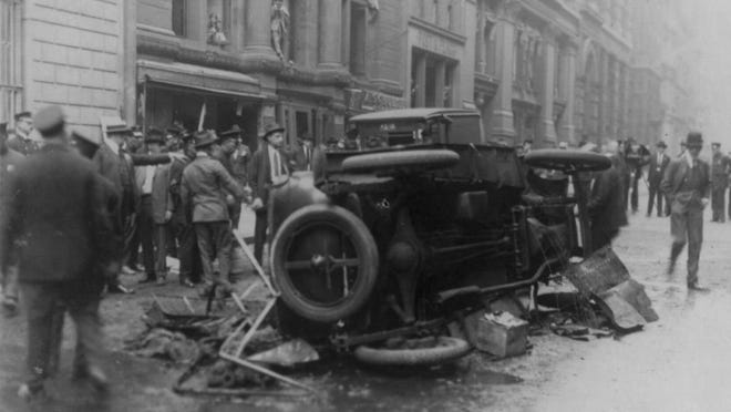 This wrecked vehicle was part of the aftermath of the Wall Street financial district in New York on Sept. 16, 1920.
