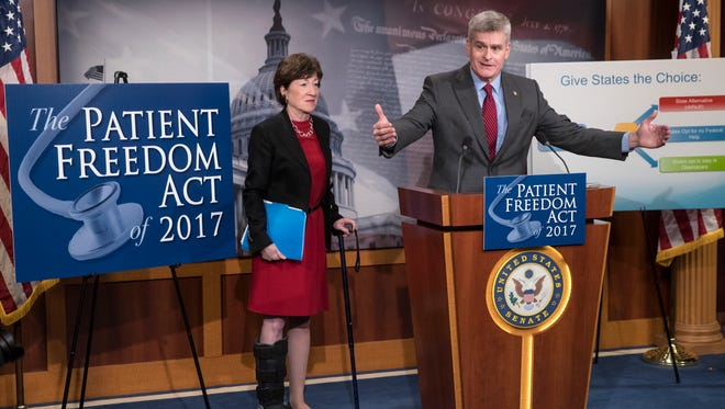 Sen. Bill Cassidy, R-La., accompanied by Sen. Susan Collins, R-Maine, announces the Patient Freedom Act of 2017, a possible GOP replacement bill for the Affordable Care Act,  Jan. 23, 2017, during a news conference on Capitol Hill.