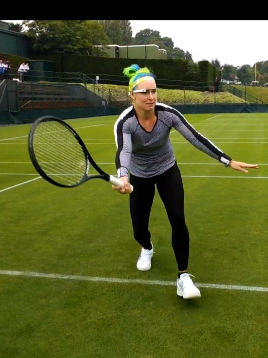 2013-6-24 bethanie mattek-sands and her google glass