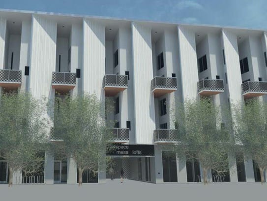 A rendering of the Mesa Artspace Lofts, which are being
