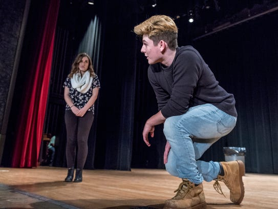 Christian Gonzalez, right, and Haley Wallace rehearse