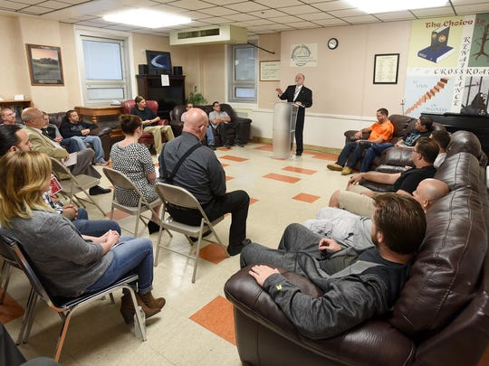 President Judge John C. Tylwalk talks about the success of Renaissance Crossroads during an event held at the Lebanon VA Medical Center on Thursday, Oct. 13, to celebrate the 15th year of the alternative sentencing program for nonviolent offenders with substance abuse problems.