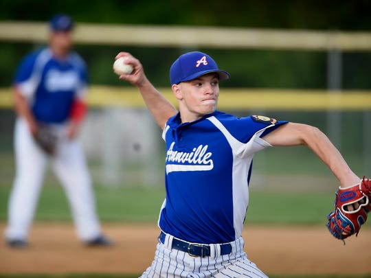 Annville's Alec Barr pitched superbly in defeat on Tuesday night, striking out nine and scattering four hits in a 1-0 loss to Fredericksburg.
