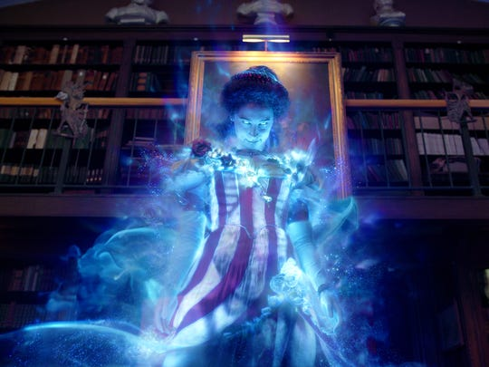 Gertrude the Ghost haunts a library in 'Ghostbusters.'