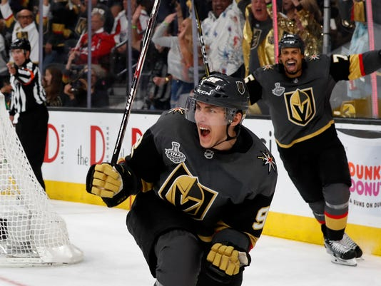 Golden Knights left wing Tomas Nosek celebrates a goal in the third period  during Game 1 of the Stanley Cup finals at T-Mobile Arena in Las Vegas on  Monday. 6182e4382d0b