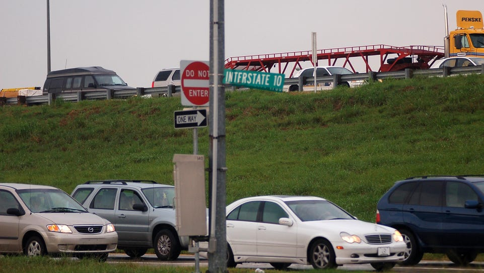Traffic is backed up along Interstate 10 and it's service