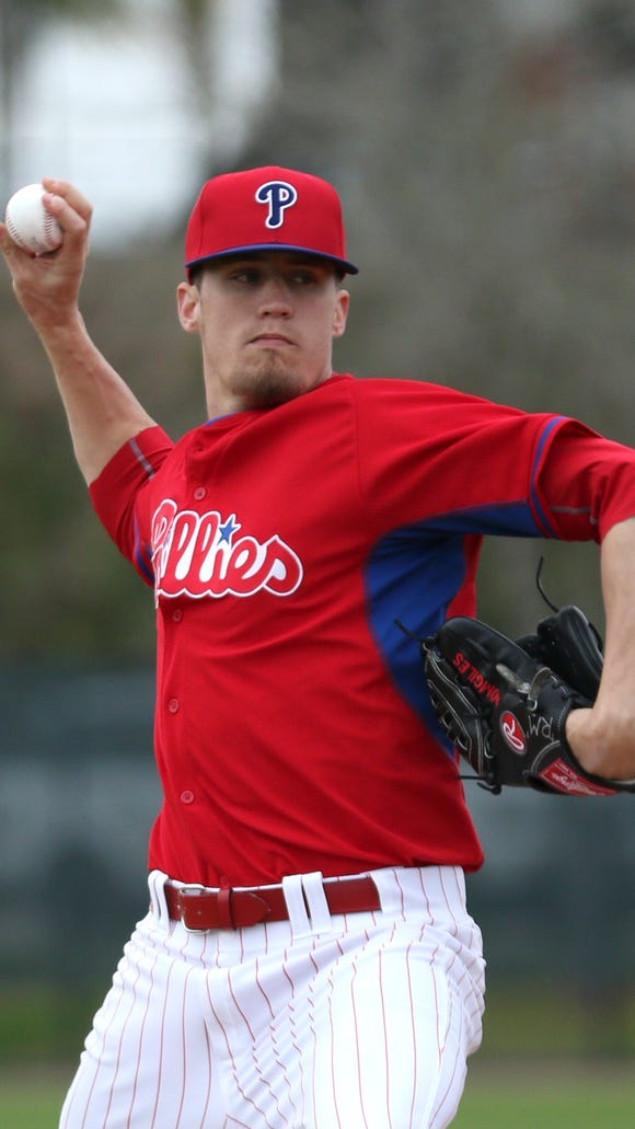 Phillies relief pitcher Ken Giles (53) pitches during spring training workouts Feb. 27 at Bright House Field. Credit: Reinhold Matay-USA TODAY Sports