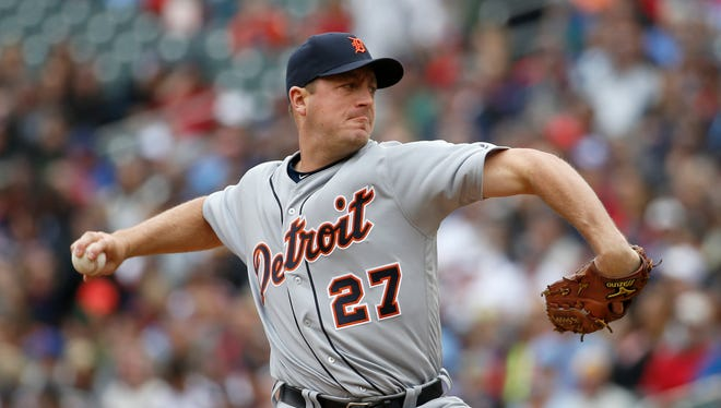 Detroit Tigers starting pitcher Jordan Zimmermann (27) delivers to the Minnesota Twins during the first inning of a baseball game in Minneapolis, Saturday, April 30, 2016.