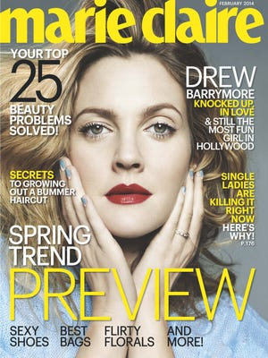 Drew Barrymore covers 'Marie Claire' mag's February issue.