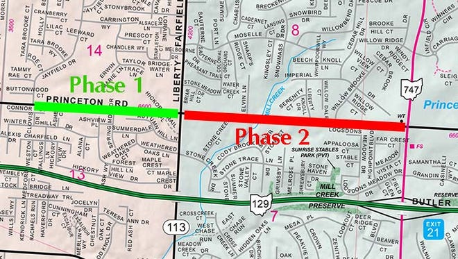 A 1.8-mile stretch of Princeton Road between Jayfield Drive in Fairfield Township and Ohio 747 in Liberty Township will be improved beginning Monday.