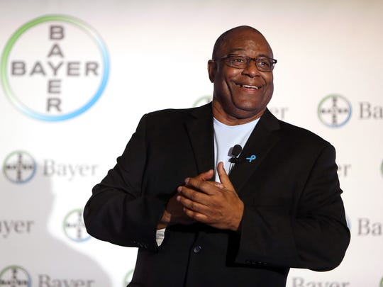 Former outfielder for the Cincinnati Reds, Ken Griffey Sr. speaks during a World Cancer Day event at Bayer in Whippany. February 3, 2016, Whippany, NJ.