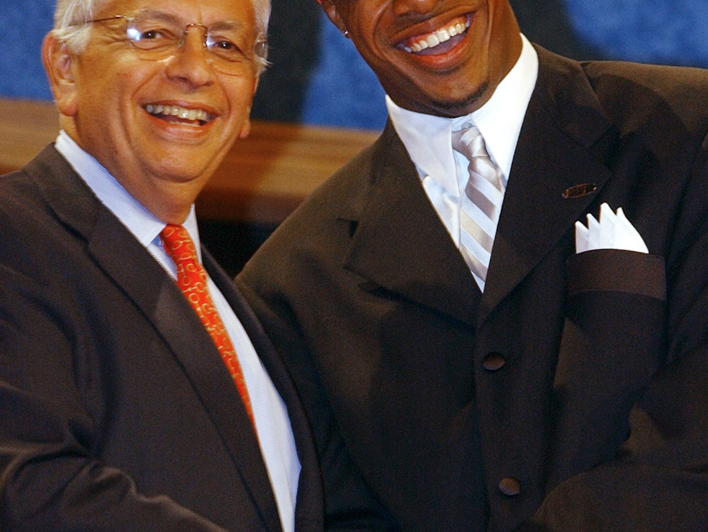 Jay Williams, of Duke University, shakes hands with NBA Commissioner David Stern after being picked second in the NBA Draft by the Chicago Bulls, Wednesday, June 26, 2002, in New York.