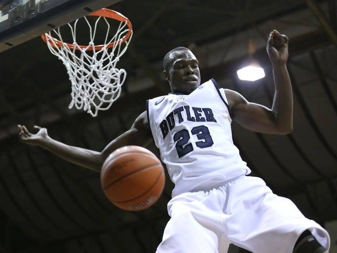 Butler's Khyle Marshall dunks the ball against Nova Southeastern during the first half of the exhibition game at Hinkle Fieldhouse Tuesday October 29, 2013.  Chris Bergin/ for The Star