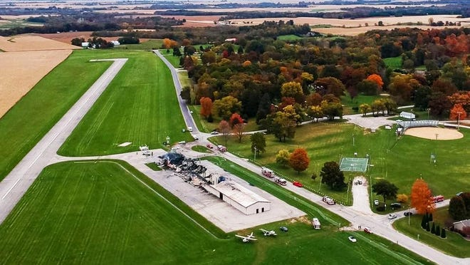 This drone photograph shows the damage a fire caused at the Monmouth Municipal Airport on Oct. 25, 2019.
