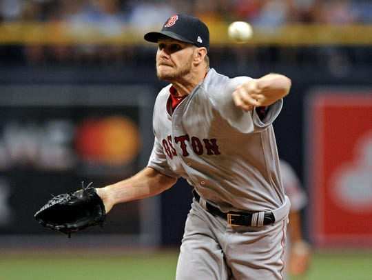 Boston Red Sox starter Chris Sale pitches against the