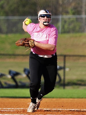 Katie Turner throws a pitch during McNairy Central's 2-1 loss to South Side on April 17, 2018.