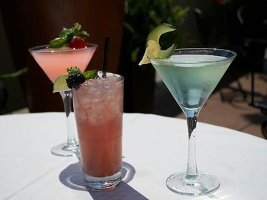 Strawberry Basil Lemonade (left), a Blackberry Gin Fizz and Cucumber Ginger Fizz are part of Tony's summer cocktail menu.
