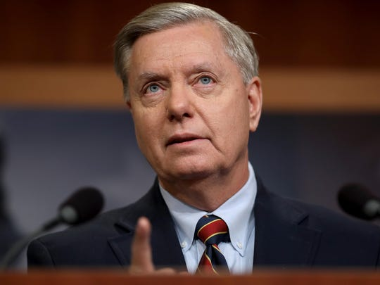 "Sen. Lindsey Graham speaks during a press conference at the U.S. Capitol on December 20, 2018 in Washington, DC. ""The president needs to go to Afghanistan,"" Graham, a member of the Senate Armed Services Committee, told reporters at the Capitol Friday. ""He hasn't visited our troops, and he needs to do that."""