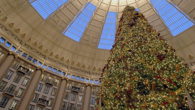 BOB GWALTNEY / Courier & Press Thousands of LED lights decorate the 40 foot Christmas Tree in the center of the atrium of the West Baden Hotel.