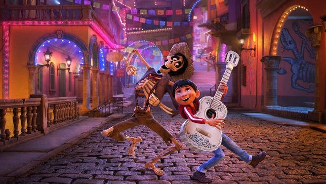 "Hector, voiced by Gael García Bernal, left, and Miguel, voiced by Anthony Gonzalez in a scene from ""Coco."""