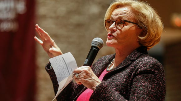 Sen. Claire McCaskill answers questions during a town