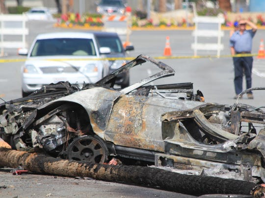 Wreckage of the chased vehicle from the fatal crash that killed Officer Jermaine Gibson on March 18, 2011.