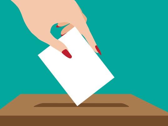 Woman voting flat design.