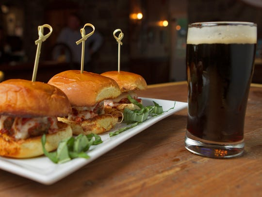 Sliders and a small draft beer at Ambulance Brew House