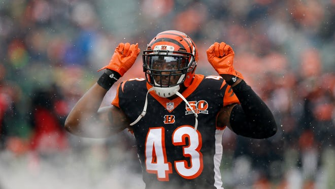 Cincinnati Bengals free safety George Iloka (43) takes the field as he's introduced before the first quarter of the NFL Week 14 game between the Cincinnati Bengals and the Chicago Bears at Paul Brown Stadium in downtown Cincinnati on Sunday, Dec. 10, 2017. At halftime the Bears led 12-7.