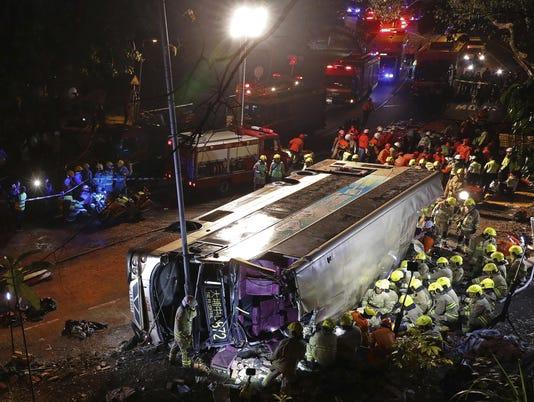APTOPIX Hong Kong Bus Crash