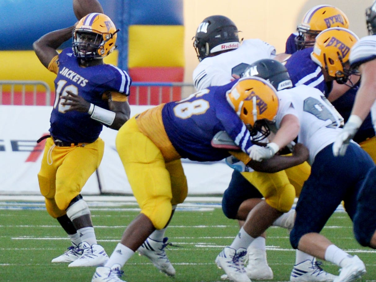 Byrd's Zavier Moore during their game against St. Thomas More at the Battle on the Border Thursday evening at Independence Stadium.