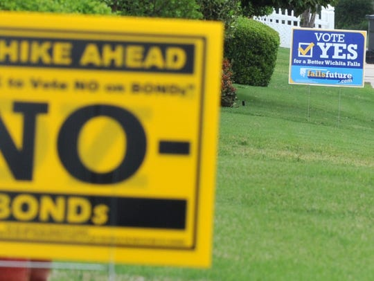 Signs for both sides of the May bond election are seen in this Times Record News file photo.