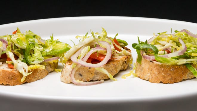 Salmon-sprout crostini