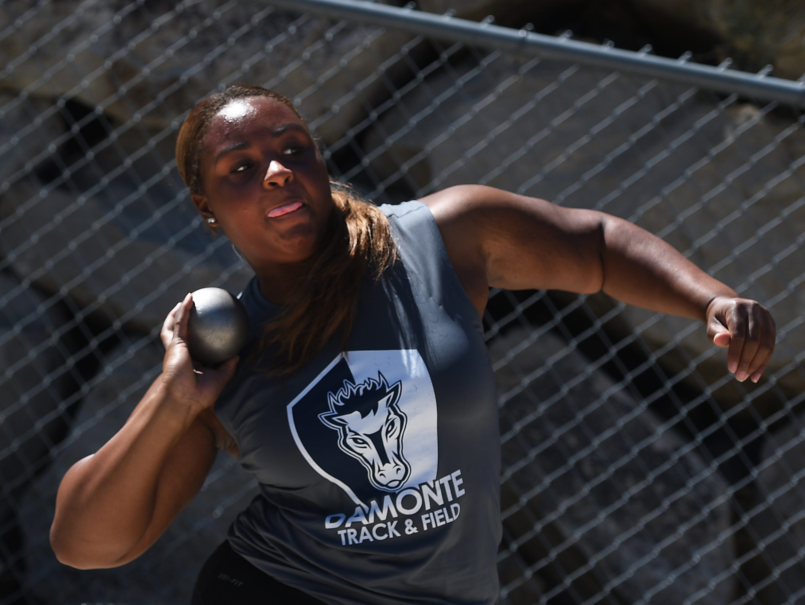 Damonte Ranch's Cassidy Osborne-Butler, shown competing last year, won the shot put Friday at the Reed Rotary track and field meet.