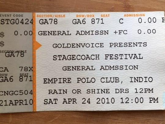 Pre-wristband. Stagecoach 2010 tickets.