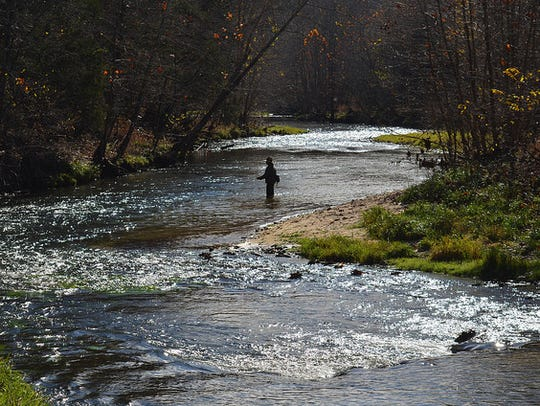 An angler tries his luck in the headwaters of the Current