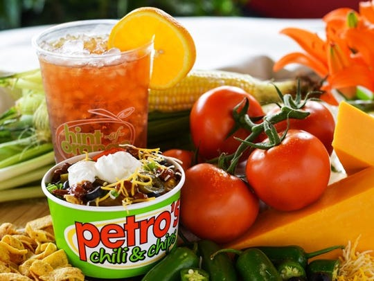 A Petro's chili and chips with its signature hint of orange iced tea.