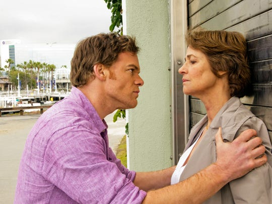 Michael Hall (left, with guest star Charlotte Rampling) returns as Dexter Morgan in the final season of 'Dexter.'