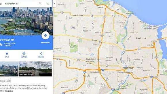 This off-kilter depiction of Rochester - it's really Chicago - appears on Google Maps.