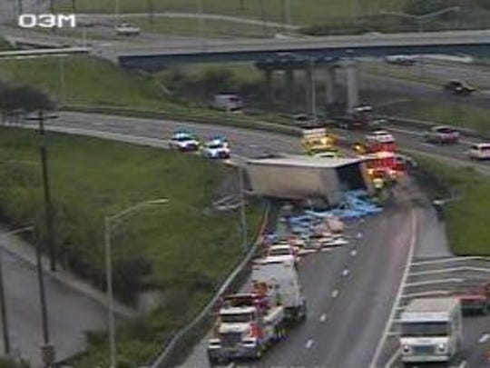 Emergency workers responding to the crash on Interstate 40.