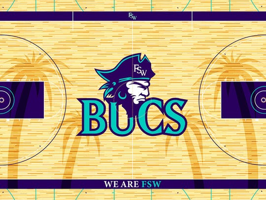 """Florida Southwestern State College unveiled the design for the playing floor in the Suncoast Credit Union Arena on Wednesday, Sept. 21, 2016. Designed by FSW Sports Information Director Michael Hill, the Buccaneers' court design, outlined in purple, features a Bucs head logo and nickname --Bucs -- at center court, with """"Florida SouthWestern"""" along the baselines. """"We Are FSW"""" is located on the sideline opposite of the team benches. The design also features four palm trees that stretch nearly sideline to sideline. The palm trees, each in a dark stain, are a nod to the home of FSW's Lee campus, Fort Myers, and its nickname, """"City of Palms""""."""