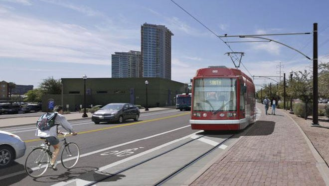 A Valley Metro rendering shows what a future streetcar might look like as it travels through Tempe.