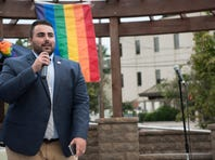 Christian Fuscarino of Garden State Equality speaks during an LGBTQ Hackensack Pride concert at Atlantic Street Park on Friday, August 11, 2017.
