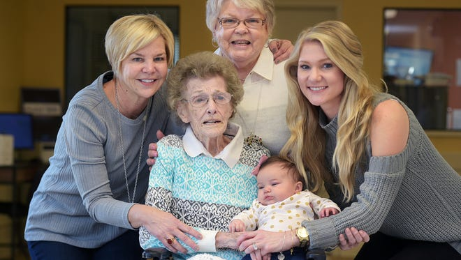 Lorene Briley, center,  affectionately as Ma, turned 101 on Feb. 3, 2017 where family celebrated her birthday at a Portland, Tenn. nursing home.  She holds her great great granddaughter,  Emmaline 'Emmy' Hayes.   All five generations of women celebrated Ma's birthday.  They are daughter Bonnie Tisdale; grand-daughter Melanie Durham; great-granddaughter  Megan Hayes; and  great -great-grand daughter Emmaline 'Emmy' Hayes.