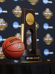 Final Four ball and National Champion trophy during a press conference on Jan. 25, 2017 in Phoenix.