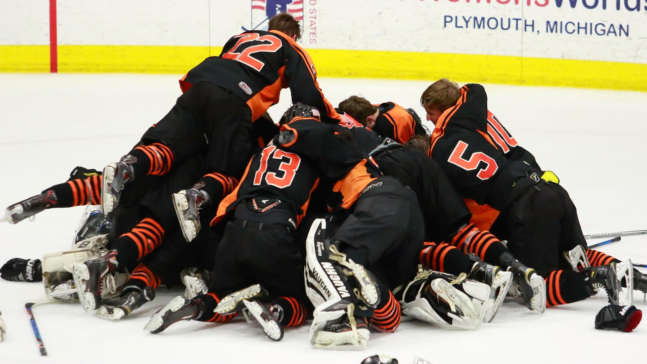 Highlights and interviews from Brighton's 5-2 victory over Detroit Catholic Central in the state Division 1 hockey championship game.